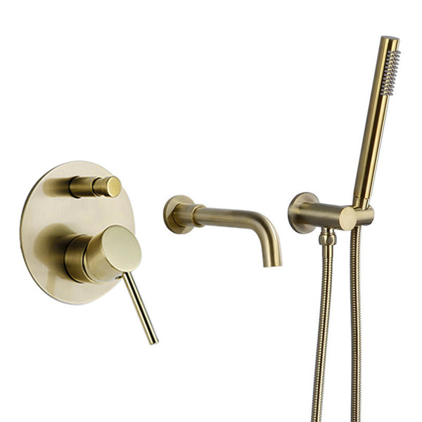 top popular Brushed Gold Bathtub Faucet Mixer Hot And Cold Water Shower Set Wall Mounted Bathroom Shower Faucet Bath Spout Shower Tap 2021