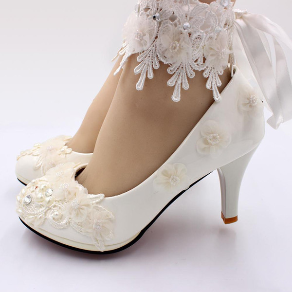 New Korean High Heels Wedding Shoes Bride Simulation Flower Tie Women Shoes Flat Bottom Maid Honor Shoes