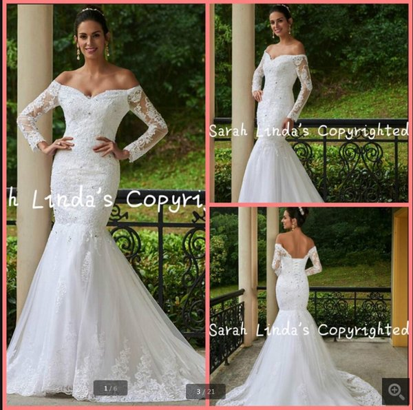 Real picture 2019 off the shoulder lace beaded wedding dress mermaid long sleeve appliques sexy stylish wedding gowns hot sale