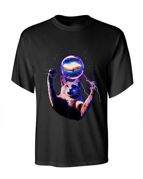Cat Catching A Sandwich Футболка с длинным рукавом Плазменный шар Kitty Kitten Странная футболка Новые унисекс прикольная футболка