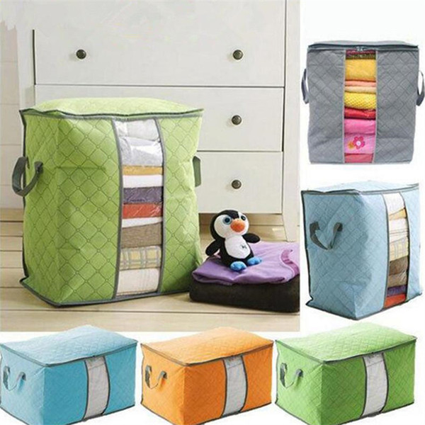 top popular Portable Non Woven Quilt Storage Bag Clothing Blanket Pillow Underbed Bedding Big Organizer Bags House Room Storage Boxes Buggy Bags Hot 2021