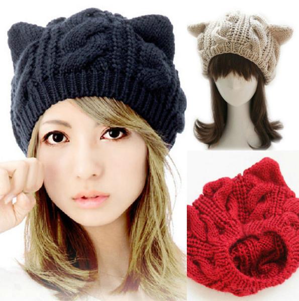 Women Cat Ear Knitted Hats Elegant Ladies Rabbit Beanie Cap Outdoor Fashion Female Winter Warm Travel Ski Hat TTA1497