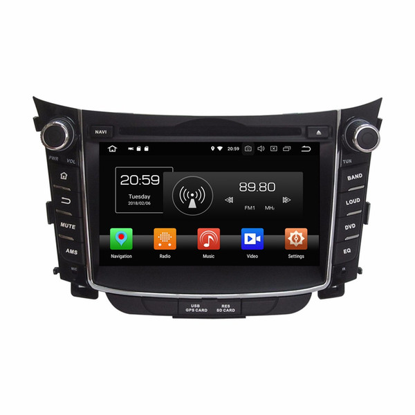 "Octa Core 2 din 7"" Android 8.0 Car dvd Player for Hyundai I30 2011 2012 2013 2014 2015 RDS Radio GPS Bluetooth WIFI USB DVR OBD Mirror-link"