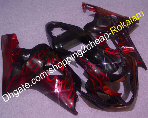 For Suzuki GSX-R 600 750 K4 2004 2005 GSXR600 GSXR750 05 04 Red Flame ABS Sportbike Black Bodywork Fairings Kit (Injection molding)