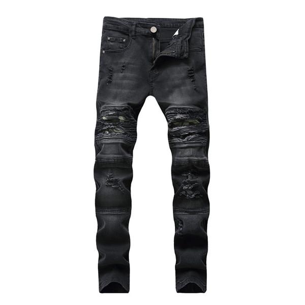 2019 Nueva moda para hombres Agujero de los pies Slim Stretch Casual jeans Locomotora Pliegues Pantalones de hombre de gran tamaño Más Tamaño 28-38 40 42