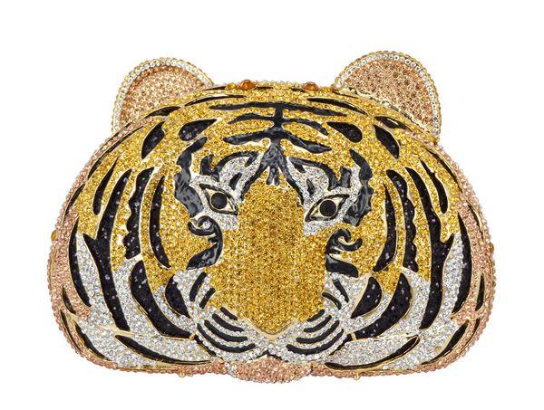 Animal full diamond Luxury evening bag Tiger Head Clutch Bag Women Diamante Wedding Purse Bags Crystal Evening bag SC048