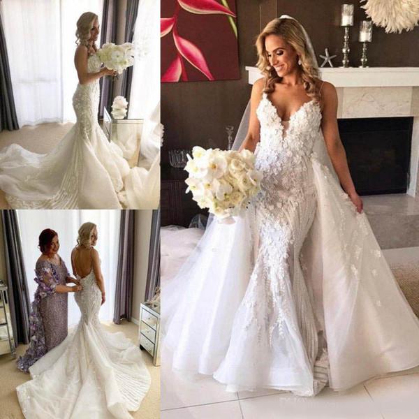 Incrível Sereia Lace Backless Vestidos De Casamento Com Trem Destacável Frisada Vestidos De Noiva Trompete Tulle De Lantejoulas Appliqued 3D Vestido De Novia