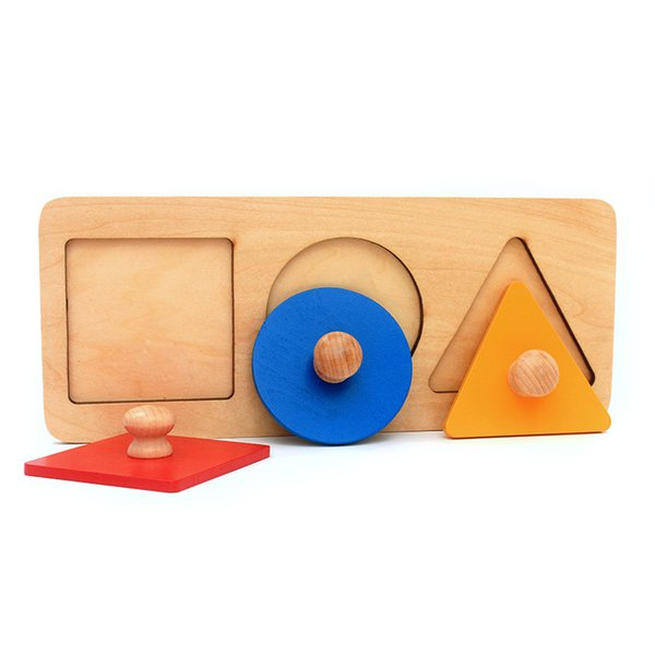 Dental House Baby Montessori Materials Wooden Toys Math Toys Geometry Shape Insets 3 Sets Red Blue Yellow Triangle Square Knobs J190427