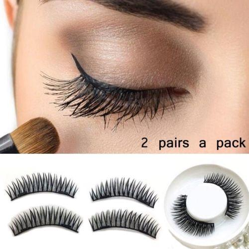 4pcs /lot Magnetic False Eyelash Double Magnet Magnetic Lashes Natural Eyelashes Soft Long Thick Eyelashes Cheap