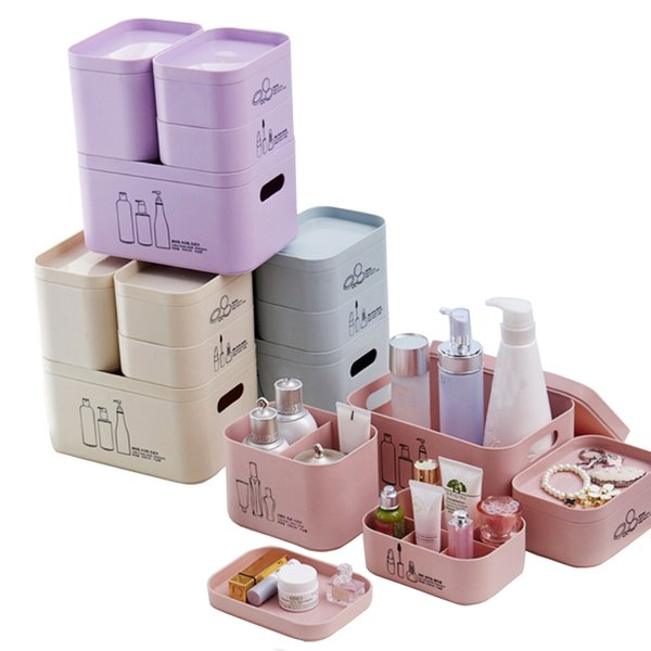 Multi-grid Makeup Organizer DIY Assembly Boxes Lipstick Nail Polish Plastic Cosmetic Storage Box Jewelry Container Case