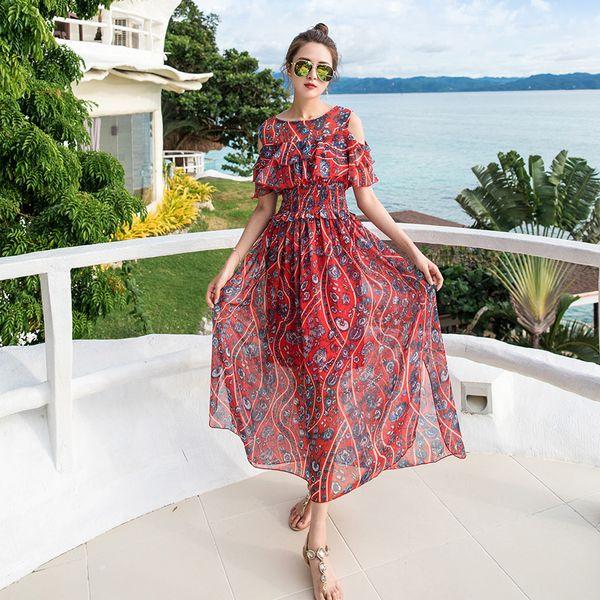 hombro vestido rojo estampado floral único delgado de la cintura maxi gran columpio volante moda sol popular vestidos