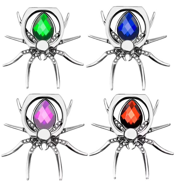 Luxury Spider Bling Finger Ring Holder 360 Rotate Phone Stent Diamond Mobile phone holder stand for iphone xs max