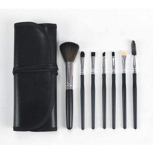 7Pcs Meinaiqi Sets de pinceles de maquillaje Kits de pinceles cosméticos con mango de plástico negro / rosa / marrón portátiles con bolsa de PU