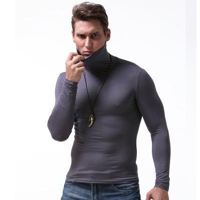 Молодежь Solid Color Tops Mens Марка длинным рукавом основывая рубашки мальчиков Тощий Топ Водолазка белье новые тенденции моды стиль