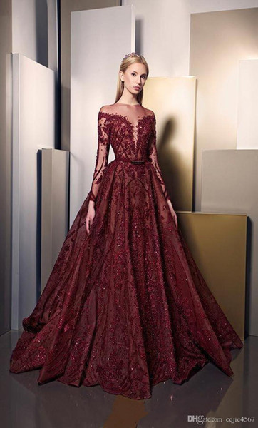 2019 New Burgundy Sparkly Long Sleeve Lace A-Line Prom Dresses Puffy Skirt Long Luxury Embroider Dubai Arabic Plus Size Evening Gown