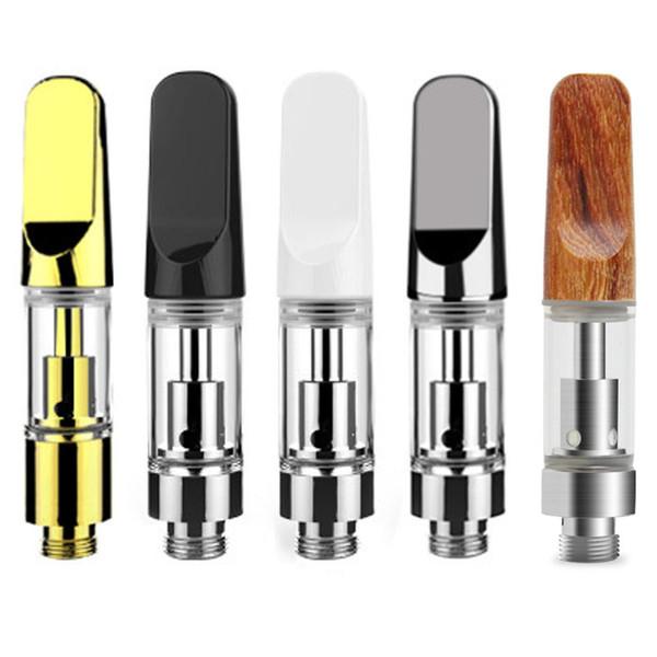 TH105 Cartucce di vetro 0.5ml 1.0ml vape Ceramic Coil Vaporizer Pen 510 Thread Metal Silver Golden Wooden Electronic Sigarette