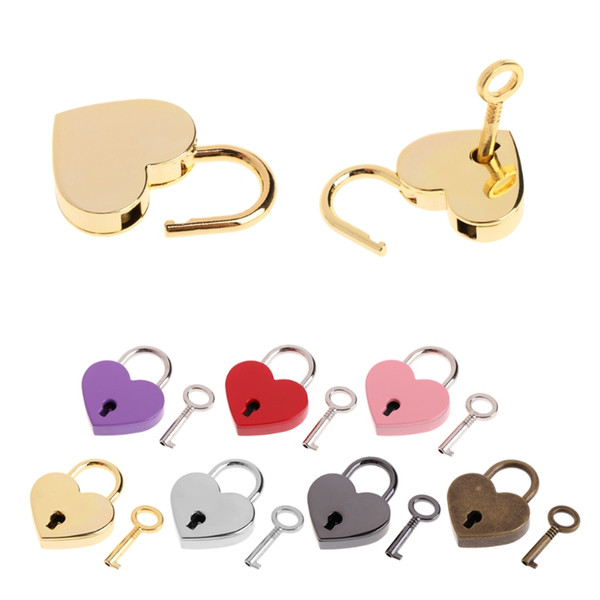 best selling Heart Shape Padlocks Vintage Old Antique Style Mini Archaize Key Lock With key For handbag small luggage bag accessories FFA1990