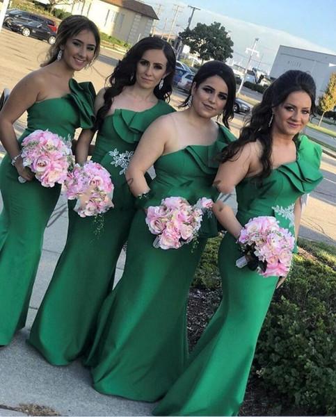 Nueva verde un hombro vestidos de dama de honor pura malla hasta el suelo boda vestidos de fiesta de invitados más el tamaño barato vestido de dama de honor