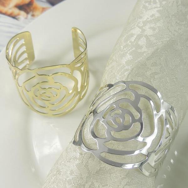 Metal Rose portatovagliolo Cena del tovagliolo della Tabella del supporto d'argento dorata della cavità di colore Out portatovaglioli per partito Wedding Table Decoration