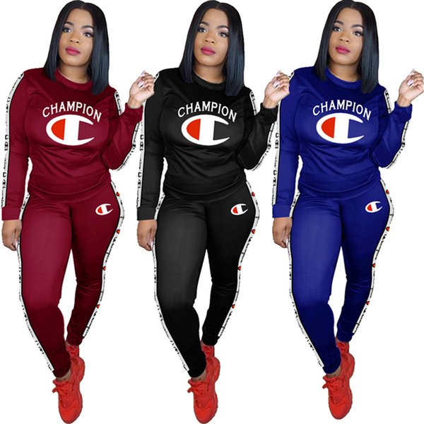 455805bdec7 brand Designer women tracksuit 2 pieces outfits sweatshirt leggings winter  clothes champion hoodie sportswear pants pullover