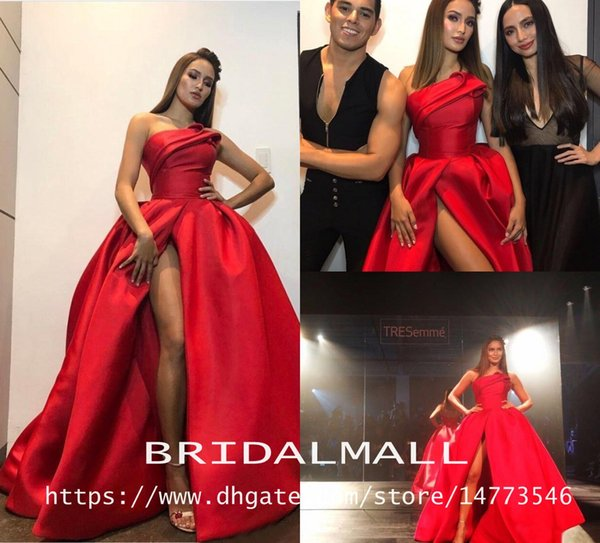Draped Red Satin Long Prom Dresses 2019 Sexy Side Split Formal Evening Gowns Sweep Train Party Dress Pageant Cheap Custom vestido de fiesta