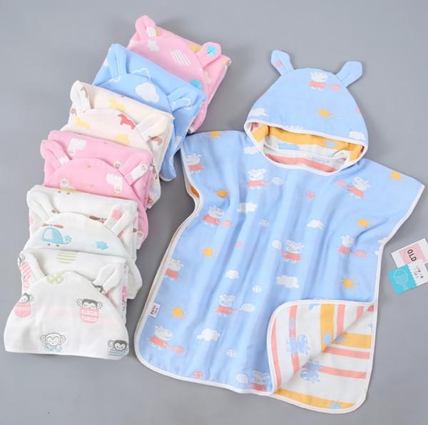 24 diseños s Toallas de baño para bebés Ultra-suave Capa con capucha de dibujos animados Muselina Gasa Infantil Bibulous Albornoz bebés Toalla de playa 65 * 60cm