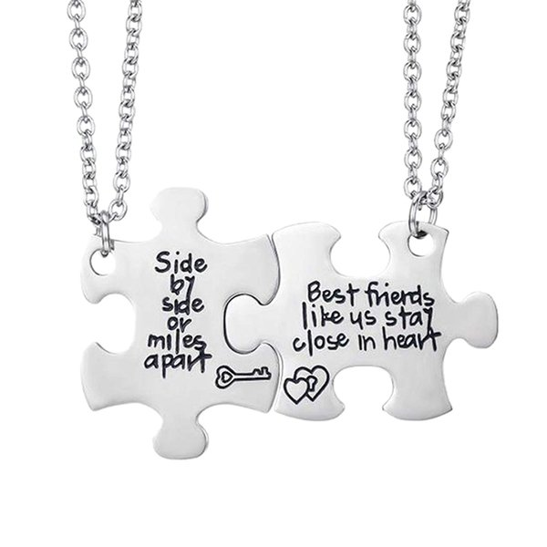 friends side by side or miles apart friend necklaces set heart friend gifts for teen girls bff friendship necklac