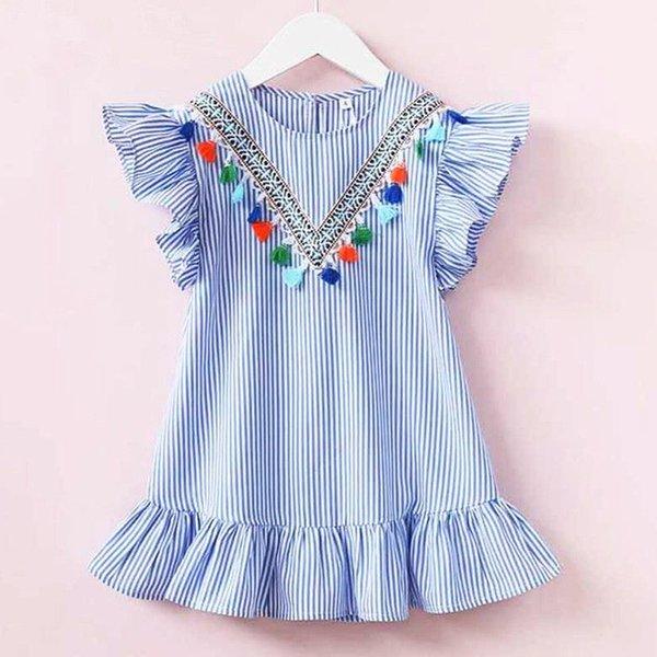 Criança Do Bebê Meninas Vestidos de Verão Listrado Plissado Manga Borla Vestido Crianças Falbala Casual Princesa