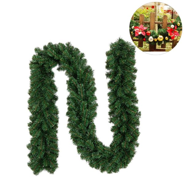 New Green Christmas Garland Wreath Xmas Home Party Christmas Decoration For Home Pine Tree Rattan Hanging Ornaments