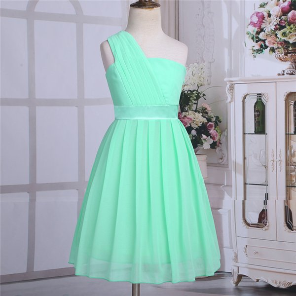 wholesale Mint Green Girls Flower Formal Party Ball Gown Prom Princess Bridesmaid Wedding Children Tutu Tulle Dress Size 4-14