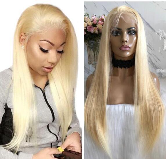Блондин полный парик шнурка знаменитости парик бразильский девы волос для чернокожих женщин средней кепке шелковистые прямые человеческие волосы парики шнурка прозрачного кружева