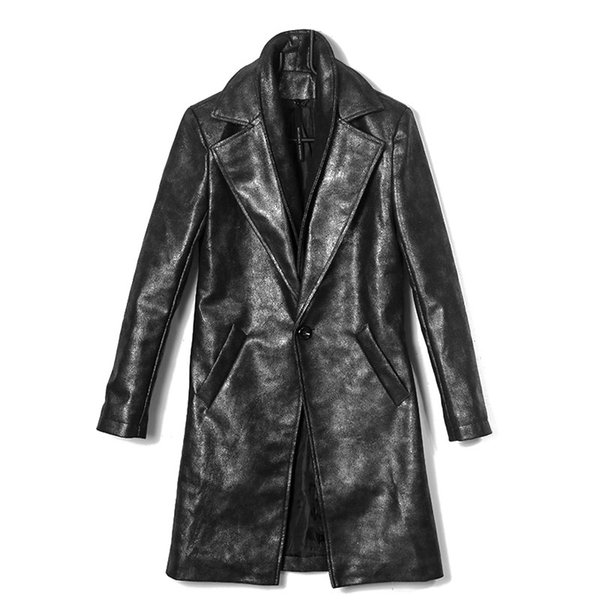 Old Coated PU Leather Windbreaker Personality Tide Men's Double Collar Slim Robes Coat Silver Gray Mens Trench Coat Jacket