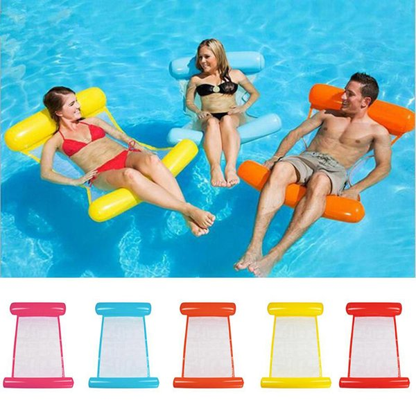 best selling Swimming Water Hammock Bed Inflatable Pool Float Chair 120cmx70cm Lounge Chair Float Beach Lounge Bed Kids Adults Relax 5 Colors