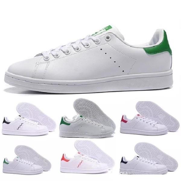 2019 Yeni Ayakkabı Moda Tasarımcıları En Kaliteli Kadın Erkek Yeni Stan Ayakkabı Smith Rahat Ayakkabılar Deri klasik Daireler Boyutu 36-44 Ucuz Parlayan