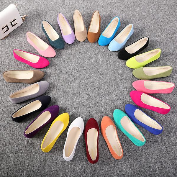 Tangnest Bahar Loafer'lar Kadın Çoklu Renk Bale Daireler Sığ Katı Sivri Burun Düz Ayakkabı Üzerinde Kayma Bayan Rahat Ayakkabılar XWD868