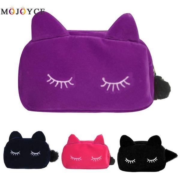 19x5.5x12cm Cute Cat Pattern Beauty Makeup Bag Case Organizer Zipper Travel Toiletry Cosmetic Bag with Ear