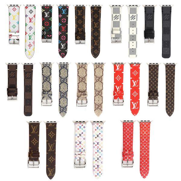 Top Luxury Designer cinturino in pelle per Iwatch 38mm 22mm 42mm 24mm cinturini in tessuto per Apple Watch cinturini 13 stili DHL