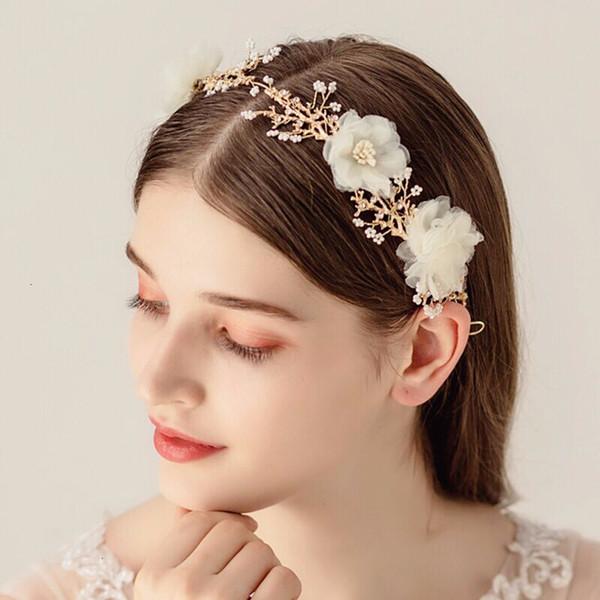 Ювелирные изделия Новый дизайн Золотой Tiara Белый цветок Корона Pearl волос ручной Кристалл Свадебные тиары Горячие головной убор Свадебные аксессуары для волос