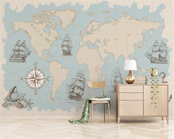Beibehang Custom Any Size Mural Wallpaper 3d Nautical Sailboat World Map Mural Living Room Wallpaper For Kids Room 3d Wallpaper High Definition