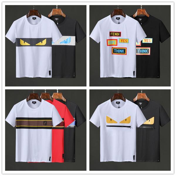 2019 Nueva Llegada Barato Marca de Copia Superior Camisetas de Hombre Polo dg O-cuello de Algodón Desgaste Al Aire Libre Blanco Negro Venta Con Tamaño al por mayor