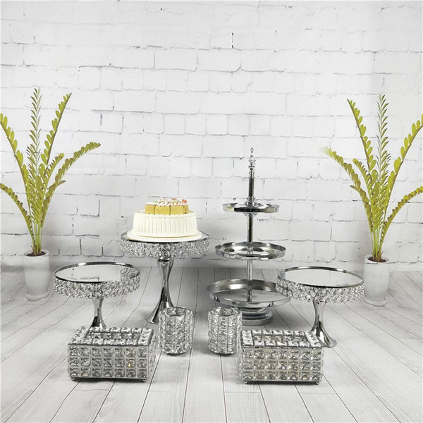8pcs/set Bling Decoration Supplies Display Plate Pop Rack Silver 3 Tier Crystal Wedding Metal Mirror Cake Stand