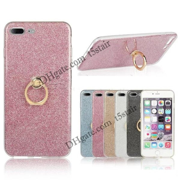 Glitter Stickers Holer Case For iPhone X 8 7 6 Plus 5 5C Ring Buckle Bracket Stand Silicone Case