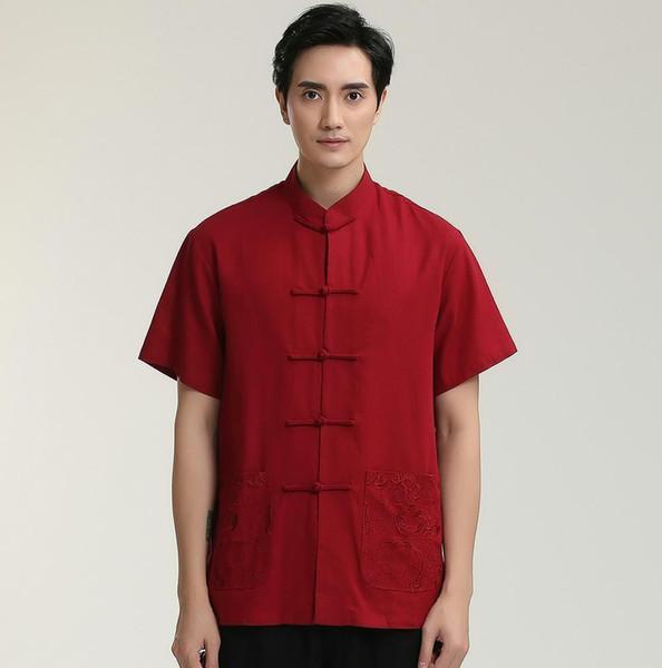 Pop 2019 Hot Sale Solid Red Mandarin Collar Chinese Kung Fu Man Short Sleeve Dress Shirts Cotton Linen Top Clothing M L XL XXL XXXL 2712