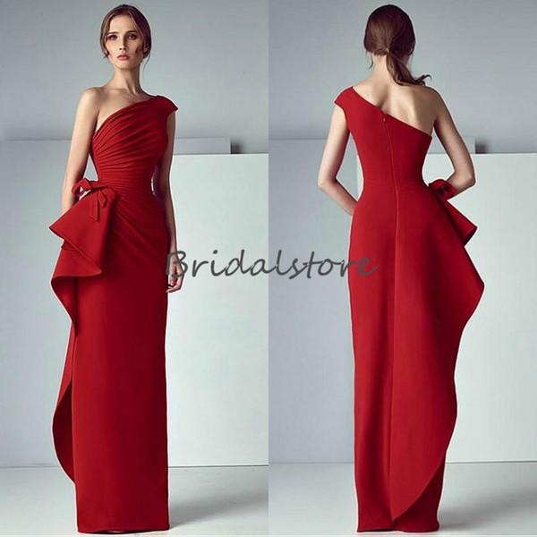 Einzigartige Schulter Rot Prom Kleider Spalte Plissee Formale Abendkleider Reißverschluss Zurück Dubai Abaya Kaftan Kleider Für besondere Anlässe 2018