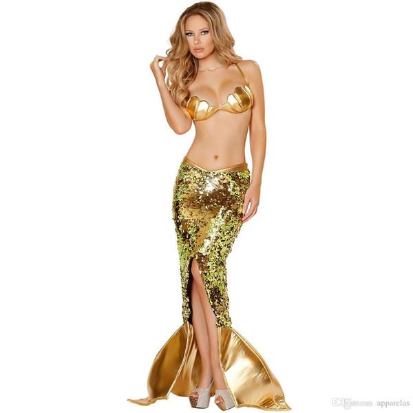 Европейские и американские взрослые золотые блестки сексуальная русалка длинная юбка косплей ролевые игры хэллоуин костюмы сексуальные костюмы