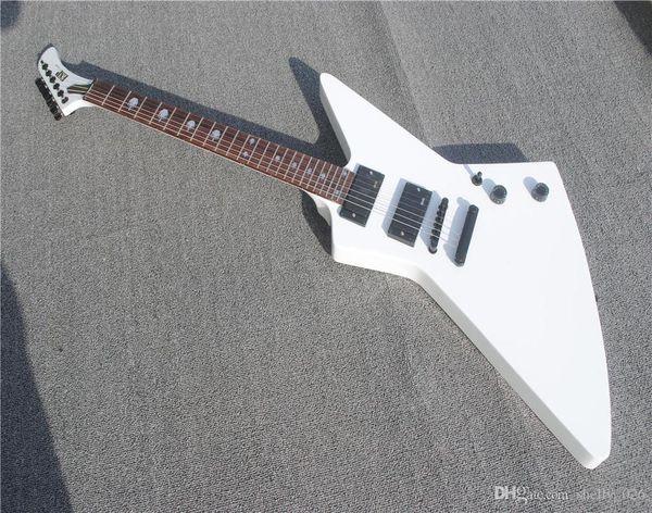 top popular Free shipping Rare Heavy Metallic James Hetfield MX-220 Signature Cream White Explorer Electric Guitar EET FUK Fingerboard Inlay, Copy EMG P 2020