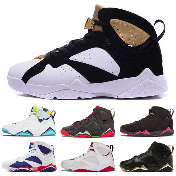 Cheap 7 Outdoor Shoes Men Women 7s VII Purple UNC Bordeaux Olympic Panton Pure Money Nothing Raptor N7 Zapatos Trainer Outdoor Shoes