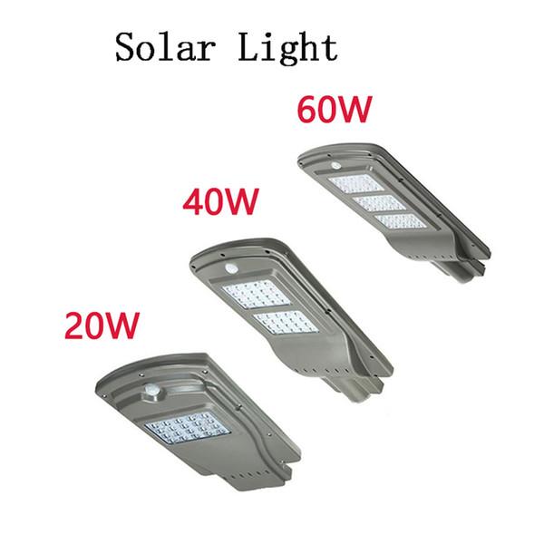 Iluminación de estacionamiento LED Luces solares de calle 20w 40w Sensor de radar Luz de seguridad Luz impermeable al aire libre del anochecer al amanecer