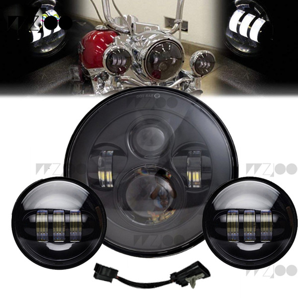 """7inch 40W Motorcycle Headlight Bulb and Bucket+ 2PCS X 30W 4-1/2"""" 4.5 inch LED Passing Light for Fog Lights"""
