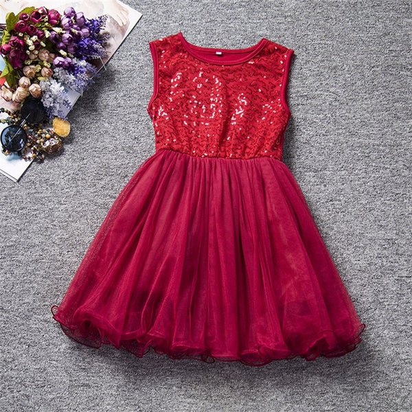 Summer Sequined Girl Dresses Casual Tutu Kids Clothes Children Clothing Birthday Party Princess Infant Vestidos For Baby Wear XF121